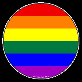 Round Gay Rainbow Pride Flag