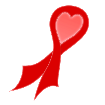 Red AIDS Ribbon with Heart
