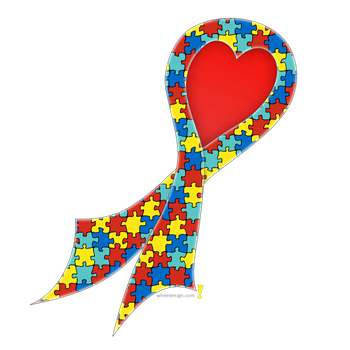 Autism Puzzle Ribbon with Hea