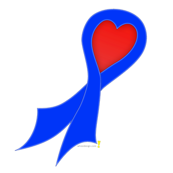 Blue Ribbon with Heart