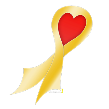 Gold Ribbon with Heart