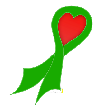 Green Ribbon with Heart