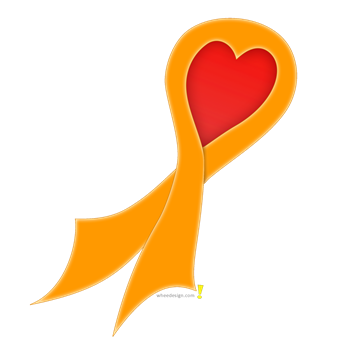 Orange Ribbon with Heart