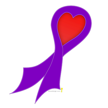 Purple Ribbon with Heart