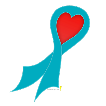 Teal Ribbon with Heart