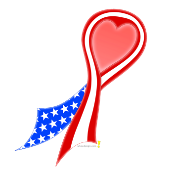 USA Flag Ribbon with Heart