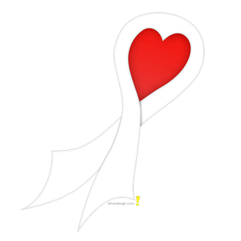 White Ribbon with Heart