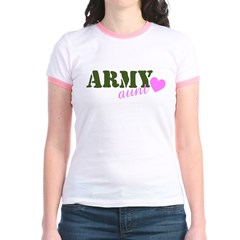Army Aunt Green & Pink Hear Jr. Ringer T-Shirt