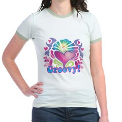 Hippie Groovy Heart Design Jr. Ringer T-Shirt