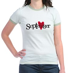 due in september red Jr. Ringer T-Shirt