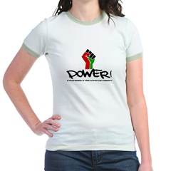 Women's Plus Size V-Neck Dark Black Power Shirt Jr. Ringer T-Shirt