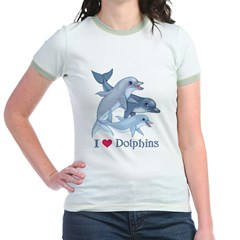 Dolphin Family and Text Jr. Ringer T-Shirt