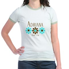 Adriana - Blue/Brown Flowers Jr. Ringer T-Shirt