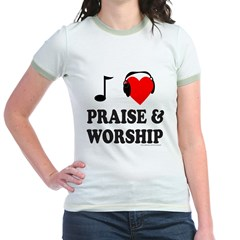 I HEART PRAISE AND WORSHIP Jr. Ringer T-Shirt