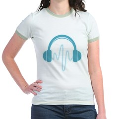Blue Headphones Maternity Tee (Dark) Jr. Ringer T-Shirt