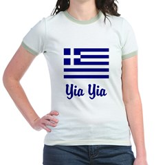 Yia Yia with Greek Flag Jr. Ringer T-Shirt