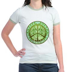 Peaceful Tree Hugger Jr. Ringer T-Shirt