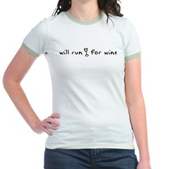 Will run for wine Jr. Ringer T-Shirt
