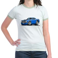 Dodge Demon Blue Car Jr. Ringer T-Shirt