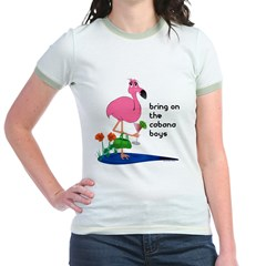 Flamingo on vacation with martini on Jr. Ringer T-Shirt