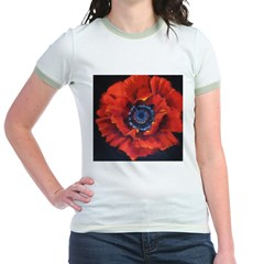 Red Poppy on Black Jr. Ringer T-Shirt