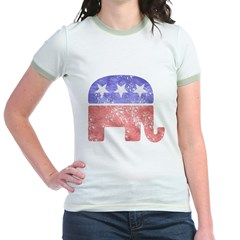 Faded Republican Elephant Jr. Ringer T-Shirt