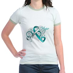 Hope Ribbon Cervical Cancer Jr. Ringer T-Shirt