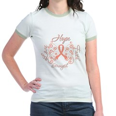 Uterine Cancer Hope Deco Jr. Ringer T-Shirt