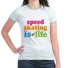 Speed Skating Is My Life Gift Jr. Ringer T-Shirt
