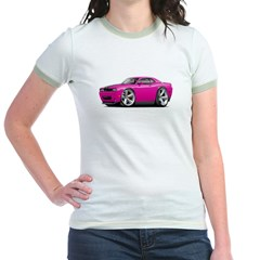 Challenger SRT8 Fuschia Car Jr. Ringer T-Shirt