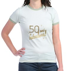 50 and Fabulous Gold and Glitter Jr. Ringer T-Shirt