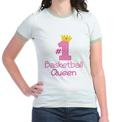 Number One Basketball Queen Jr. Ringer T-Shirt