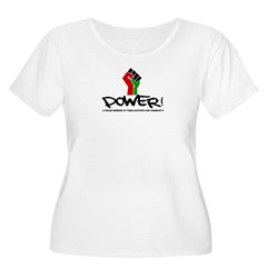 Women's Plus Size V-Neck Dark Black Power Shirt Women's Plus Size Scoop Neck T-Shirt