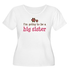 big sister pink brown flower Women's Plus Size Scoop Neck T-Shirt