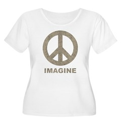 Vintage Imagine Peace Women's Plus Size Scoop Neck T-Shirt