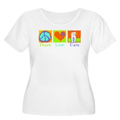 Peace Love Cats Women's Plus Size Scoop Neck T-Shirt