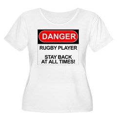 """Danger Rugby Player"" Women's Plus Size Scoop Neck T-Shirt"