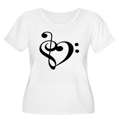Treble Bass Clef Hear Women's Plus Size Scoop Neck T-Shirt