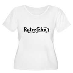 RetroJohn logo 10x10_apparel-drk Women's Plus Size Scoop Neck T-Shirt