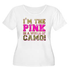 pink Women's Plus Size Scoop Neck T-Shirt