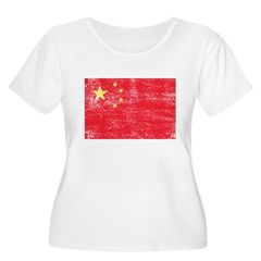 China Flag Women's Plus Size Scoop Neck T-Shirt