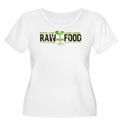 RawFood_DARK_Background Women's Plus Size Scoop Neck T-Shirt