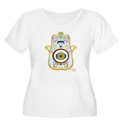 Hamsa Women's Plus Size Scoop Neck T-Shirt
