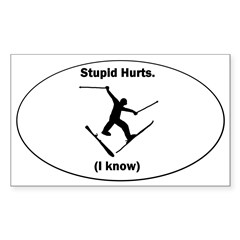 Skiing Stupid Hurts Oval Sticker (Rectangle 10 pk)