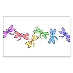 Rainbow Dragonflies Rectangle Sticker (Rectangle 10 pk)