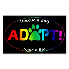 Adopt Sticker (Multi on Black) Sticker (Rectangle 10 pk)