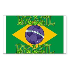 Brazil soccer Rectangle Sticker (Rectangle 10 pk)