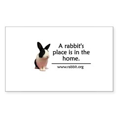 A rabbits place is in the hom Oval Sticker (Rectangle 10 pk)