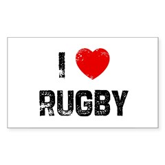 I * Rugby Rectangle Sticker (Rectangle 10 pk)