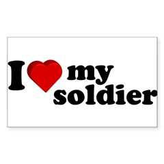 I Love My Soldier Rectangle Sticker (Rectangle 10 pk)